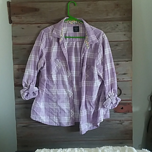 Faded Glory Tops - Purple button up shirt